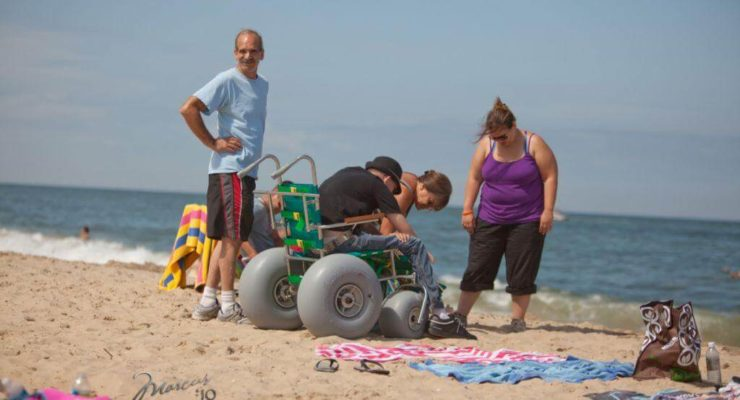 Beach accessible wheel chairs are available at a variety of locations.