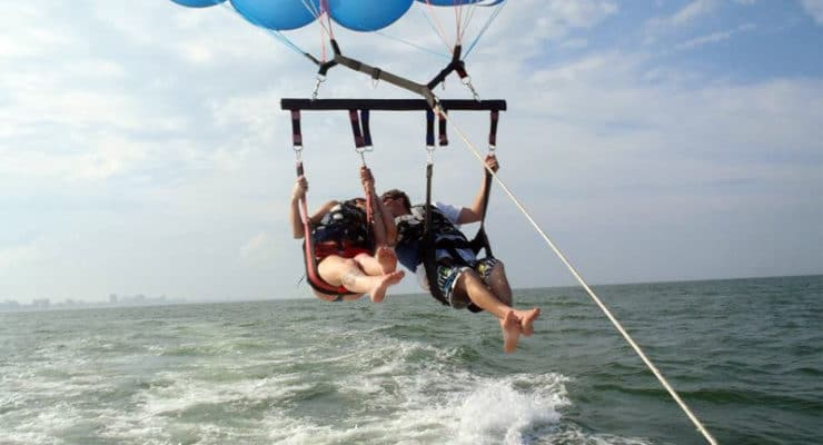 Parasailing in Virginia Beach from Rudee Inlet