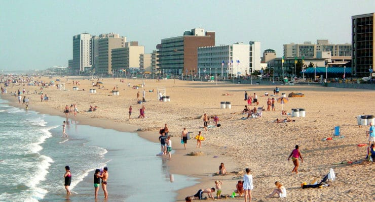 The Virgina Beach Oceanfront as viewed from the Virginia Beach Fishing Pier