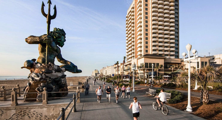 The Virginia Beach Boardwalk is 40 blocks long and runners, joggers, and bikers use it daily for their exercise routine.