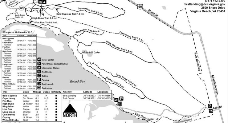 A map of the First Landing State Park running trails