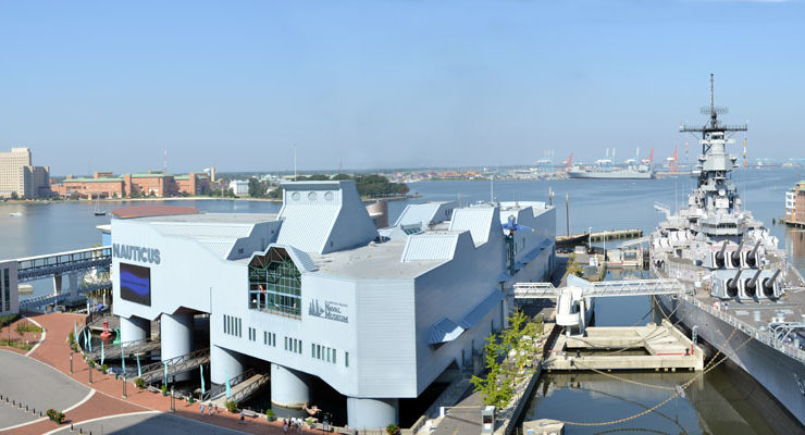 Nauticus Museum and the Battleship Wisconsin in downtown Norfolk